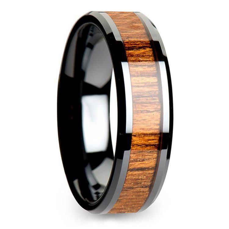 Teak Wood Inlay Men's Beveled Ring in Black Ceramic (6mm)   02