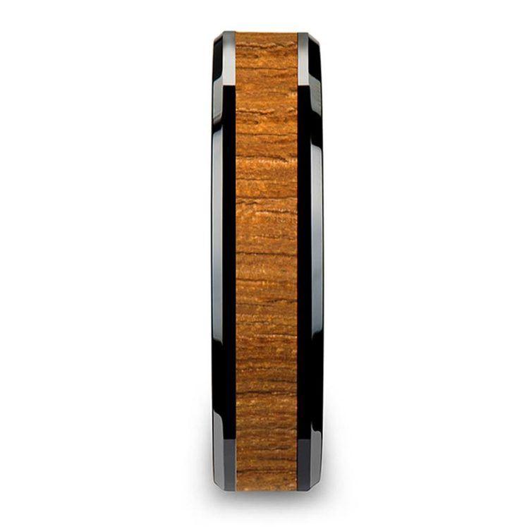 Teak Wood Inlay Men's Beveled Ring in Black Ceramic (6mm) | 03