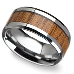Shoreline - 10mm Beveled Tungsten Mens Band with Teak Wood Inlay | Thumbnail 01