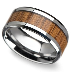 Shoreline - 10mm Beveled Tungsten Mens Band with Teak Wood Inlay