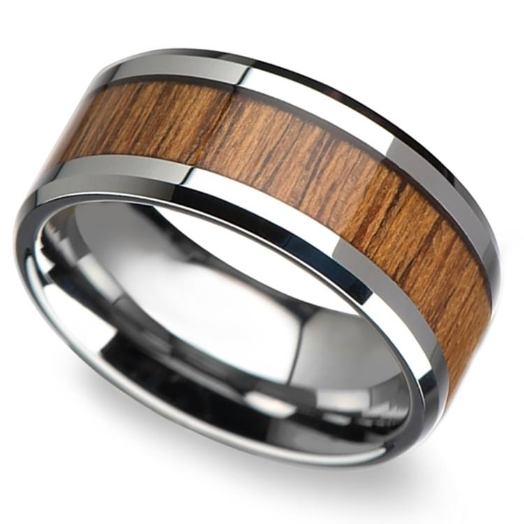 Shoreline - 10mm Beveled Tungsten Mens Band with Teak Wood Inlay | 01