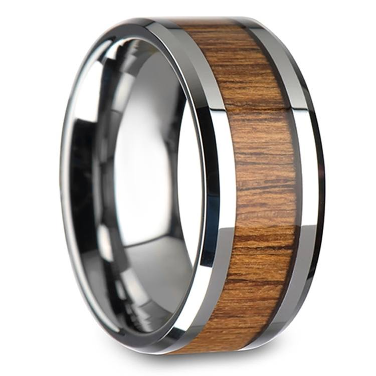 Shoreline - 10mm Beveled Tungsten Mens Band with Teak Wood Inlay | 02