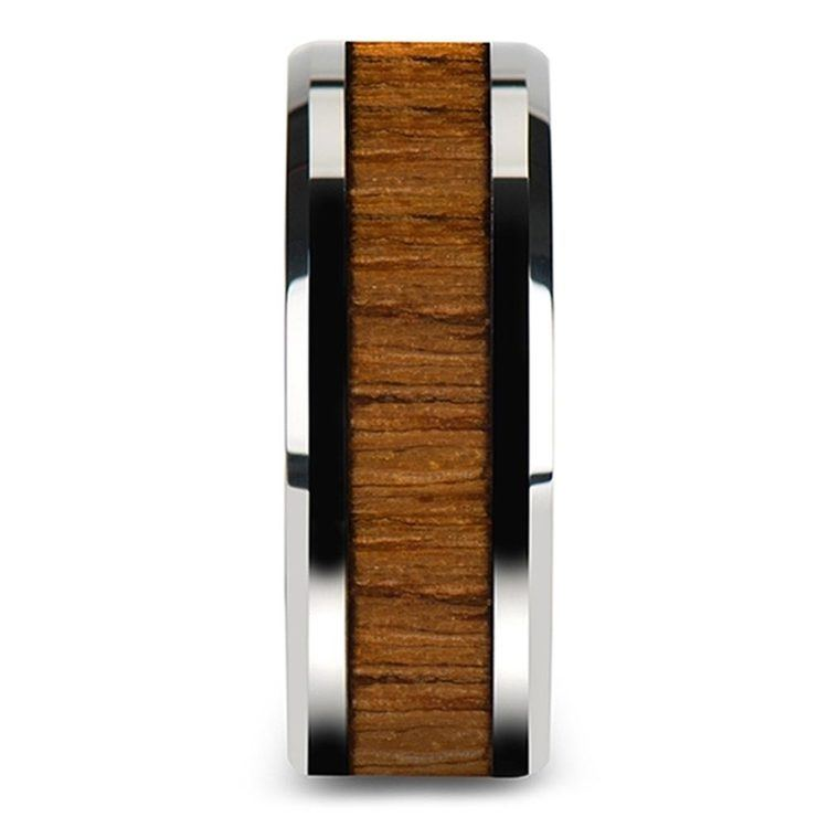 Shoreline - 10mm Beveled Tungsten Mens Band with Teak Wood Inlay | 03