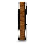 Teak Wood Inlay Men's Beveled Ring in Tungsten (6mm) | Thumbnail 03