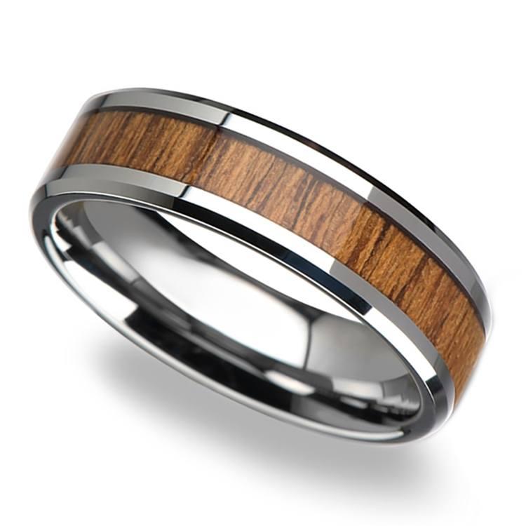 Teak Wood Inlay Men's Beveled Ring in Tungsten (6mm) | 01