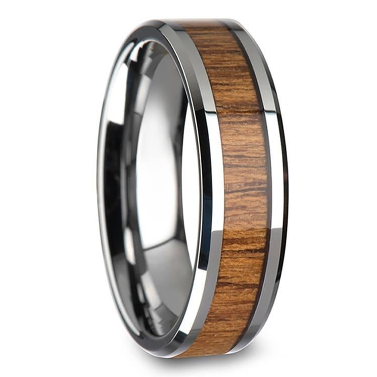 Teak Wood Inlay Men's Beveled Ring in Tungsten (6mm) | 02