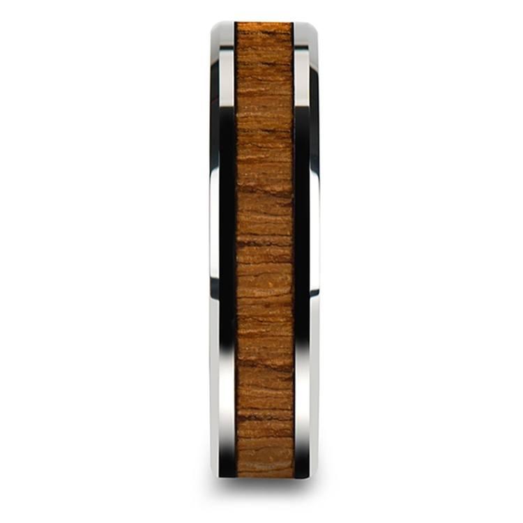 Teak Wood Inlay Men's Beveled Ring in Tungsten (6mm) | 03