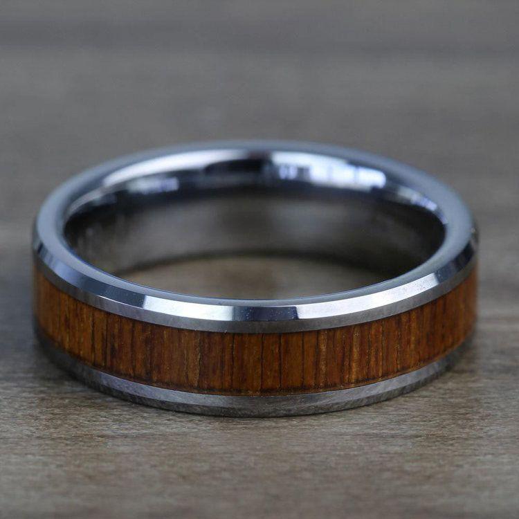 Teak Wood Inlay Men's Beveled Ring in Tungsten (6mm) | 04