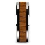 Teak Wood Inlay Men's Beveled Ring in Tungsten (8mm)   Thumbnail 03