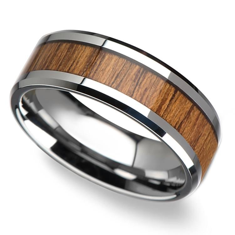 Teak Wood Inlay Men's Beveled Ring in Tungsten (8mm)   01