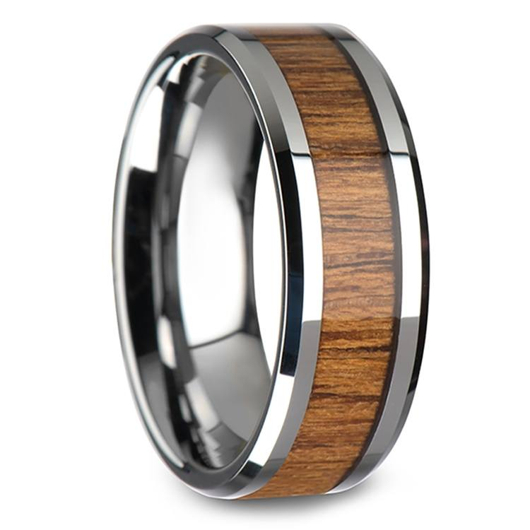 Teak Wood Inlay Men's Beveled Ring in Tungsten (8mm)   02