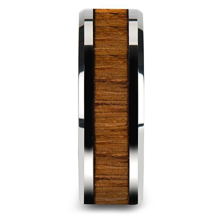 Teak Wood Inlay Men's Beveled Ring in Tungsten (8mm)   03