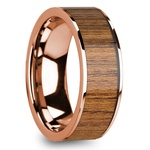 Teak Wood Inlay Men's Wedding Band in Rose Gold | Thumbnail 02