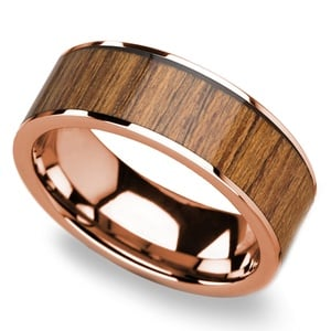 Teak Wood Inlay Men's Wedding Band in Rose Gold