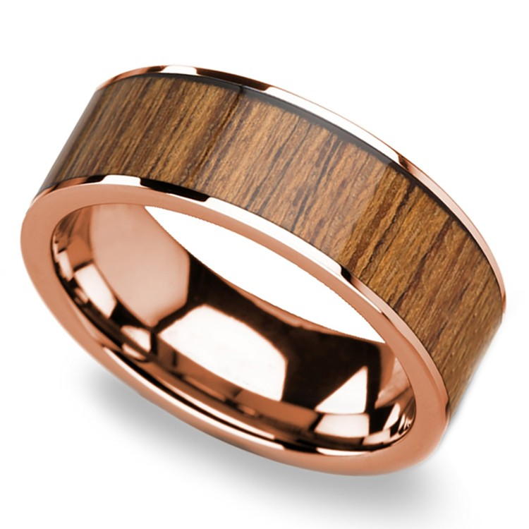 Teak Wood Inlay Men's Wedding Band in Rose Gold | 01