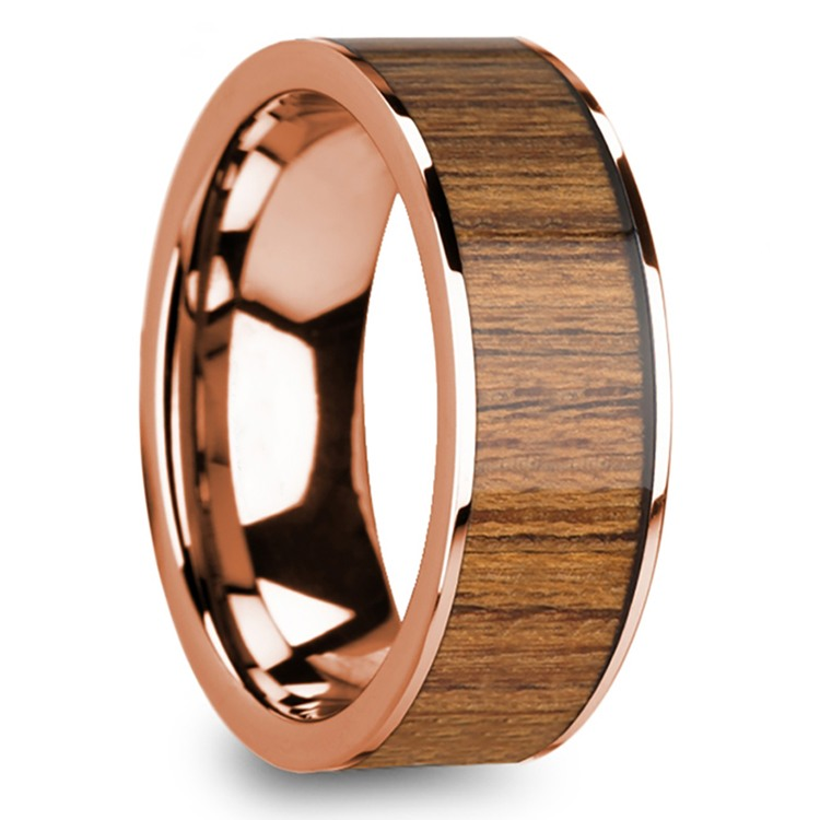 Teak Wood Inlay Men's Wedding Band in Rose Gold | 02