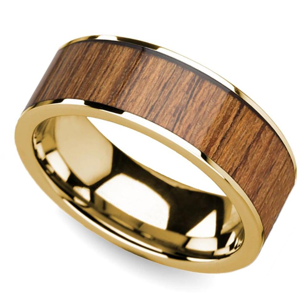 Teak Wood Inlay Men S Wedding Ring In Yellow Gold