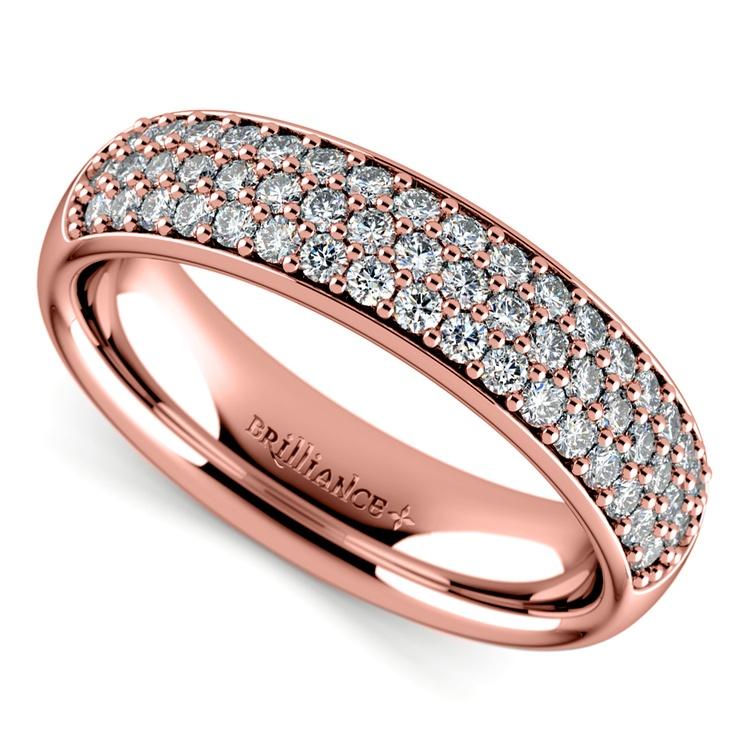 Three Row Pave Diamond Wedding Ring in Rose Gold | 01