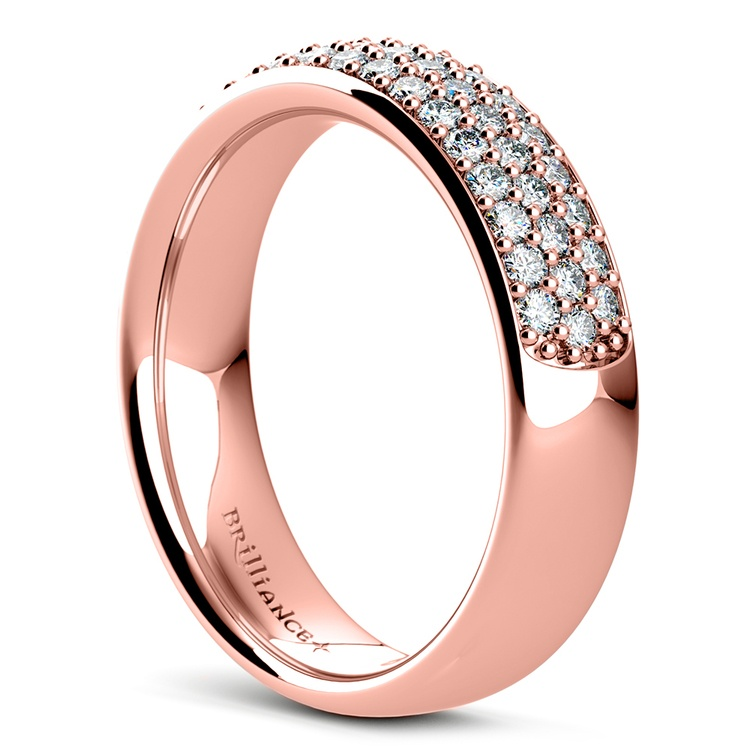 Three Row Pave Diamond Wedding Ring in Rose Gold | 04