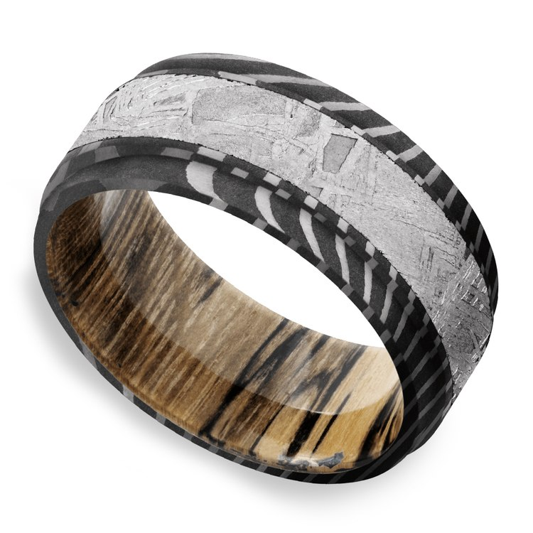 Sagittarius - Tiger Damascus & Meteorite Mens Band with Wood Sleeve | 01