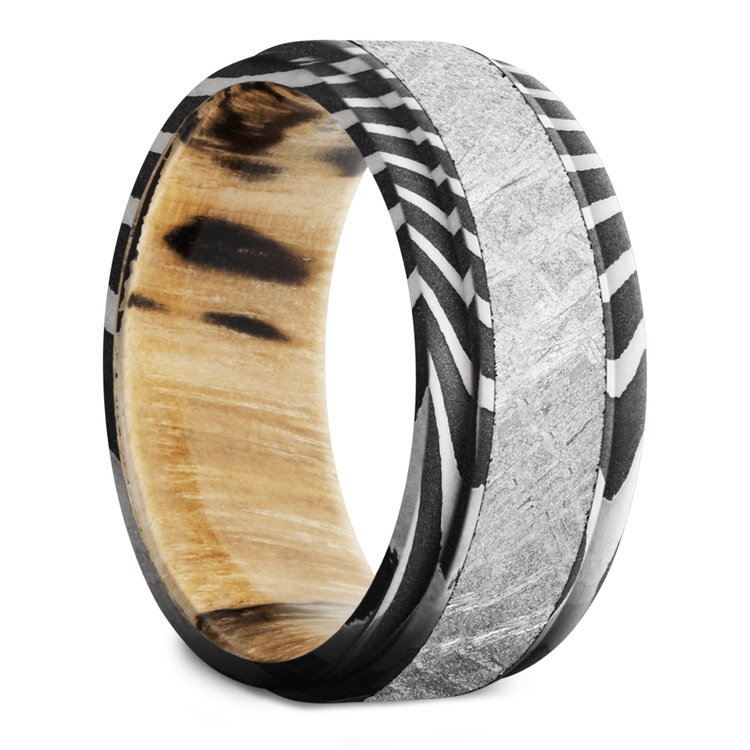 Sagittarius - Tiger Damascus & Meteorite Mens Band with Wood Sleeve | 02