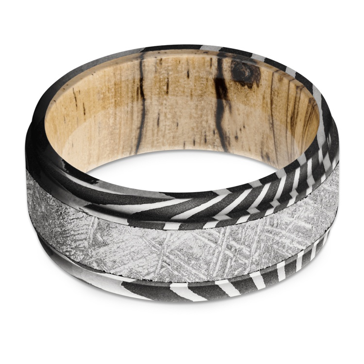 Sagittarius - Tiger Damascus & Meteorite Mens Band with Wood Sleeve | 03