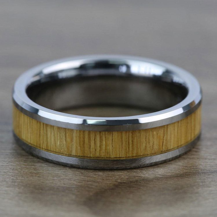 Tinder - 6mm Beveled Tungsten Mens Band with Ash Wood Inlay | 04