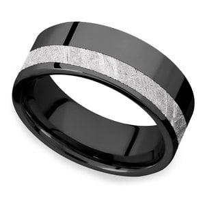 Titania - Zirconium Mens Band with Meteorite Inlay