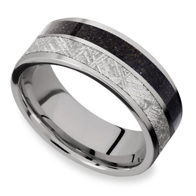 Titanium Dinosaur Bone Meteorite Ring | 01