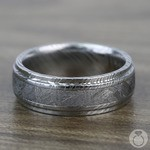 Torque - Damascus Steel Mens Ring with Meteorite Inlay | Thumbnail 04