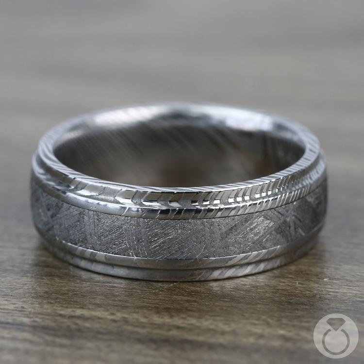 Torque - Damascus Steel Mens Ring with Meteorite Inlay | 04