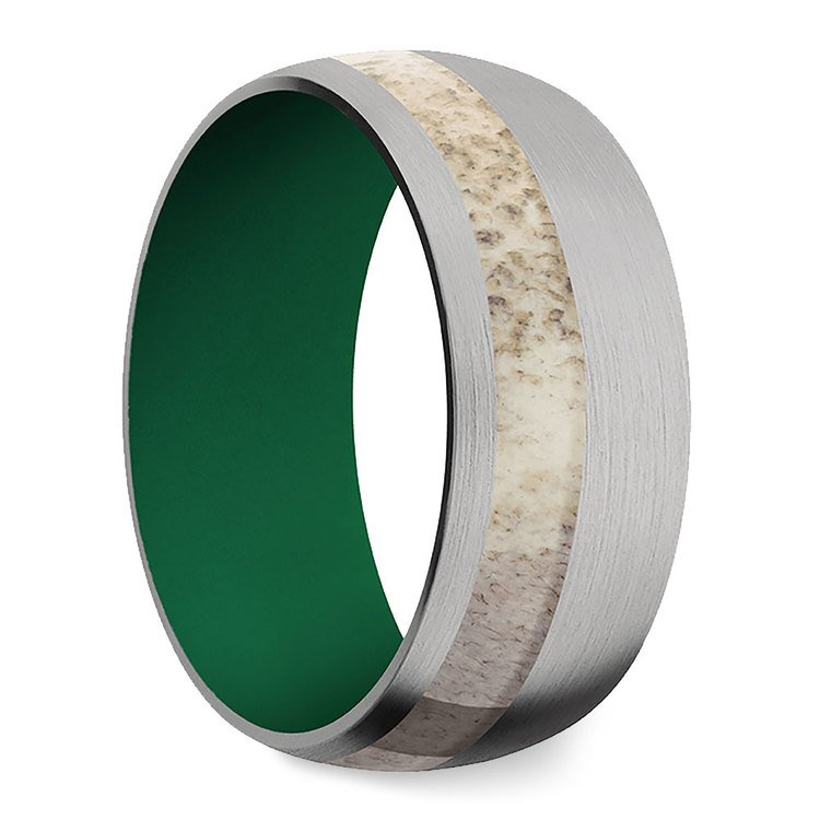 Tracker - Titanium Mens Band with Antler Inlay and Cerakote Sleeve | 02