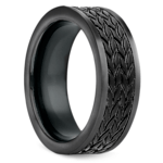 Treaded Pattern Men's Wedding Ring in Blackened Cobalt | Thumbnail 02