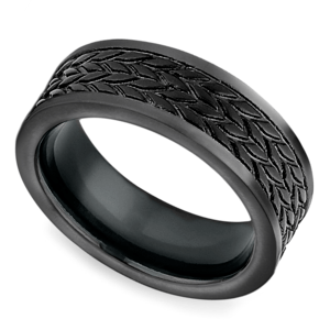 Treaded Pattern Men's Wedding Ring in Blackened Cobalt