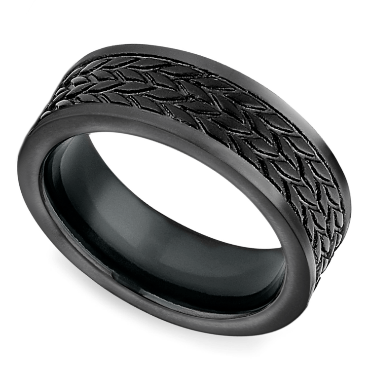 Treaded Pattern Men's Wedding Ring in Blackened Cobalt | 01