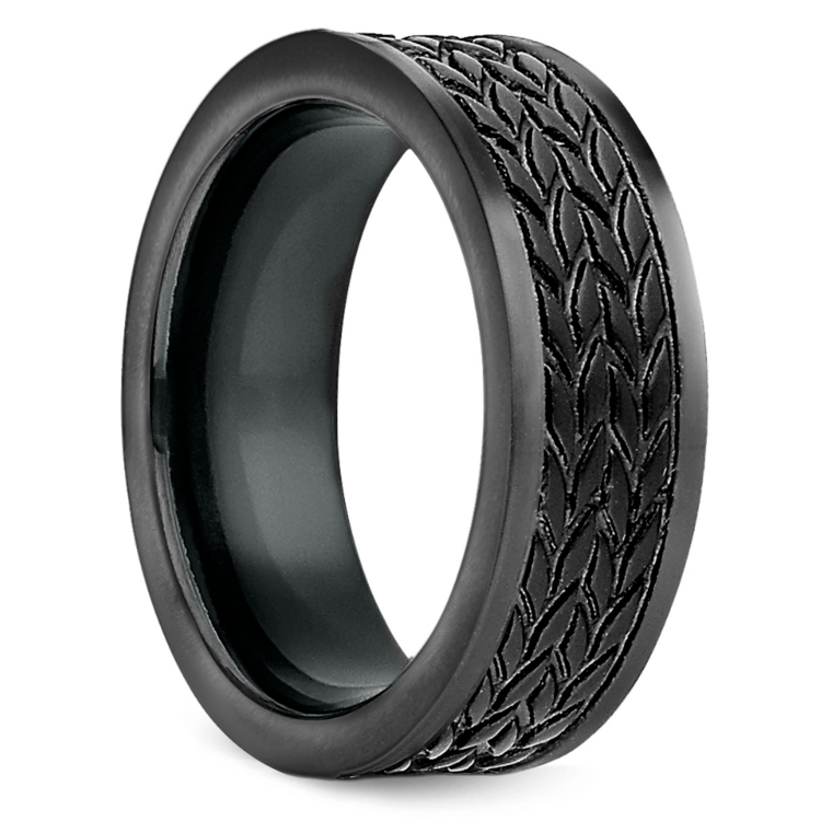Treaded Pattern Men's Wedding Ring in Blackened Cobalt | 02