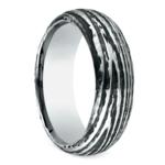 Tree Bark Patterned Men's Wedding Ring in Cobalt | Thumbnail 02