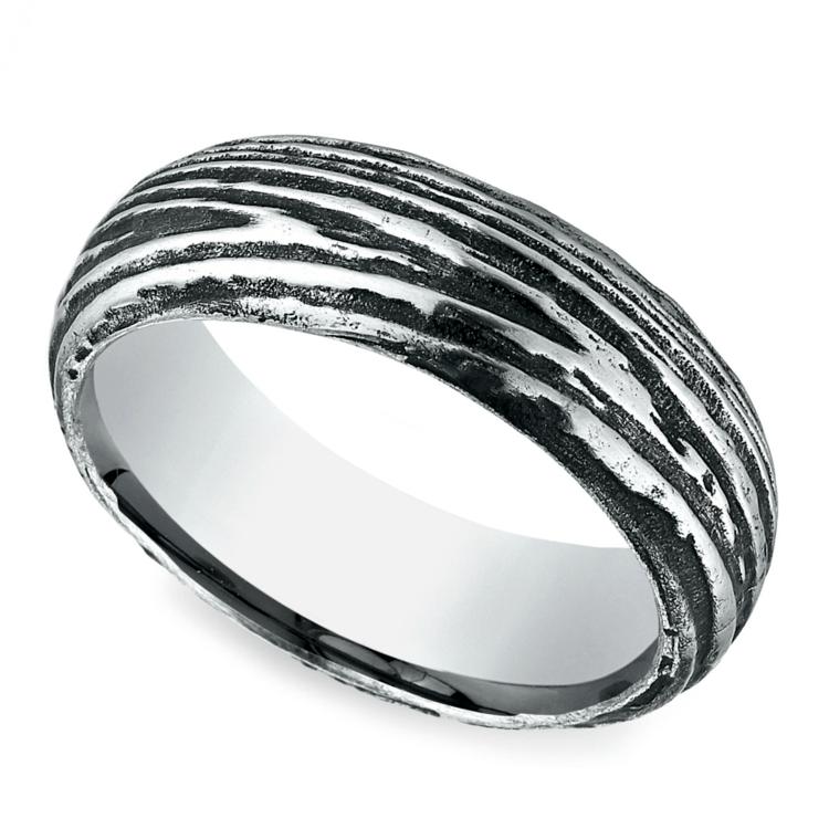 Tree Bark Patterned Men's Wedding Ring in Cobalt | 01