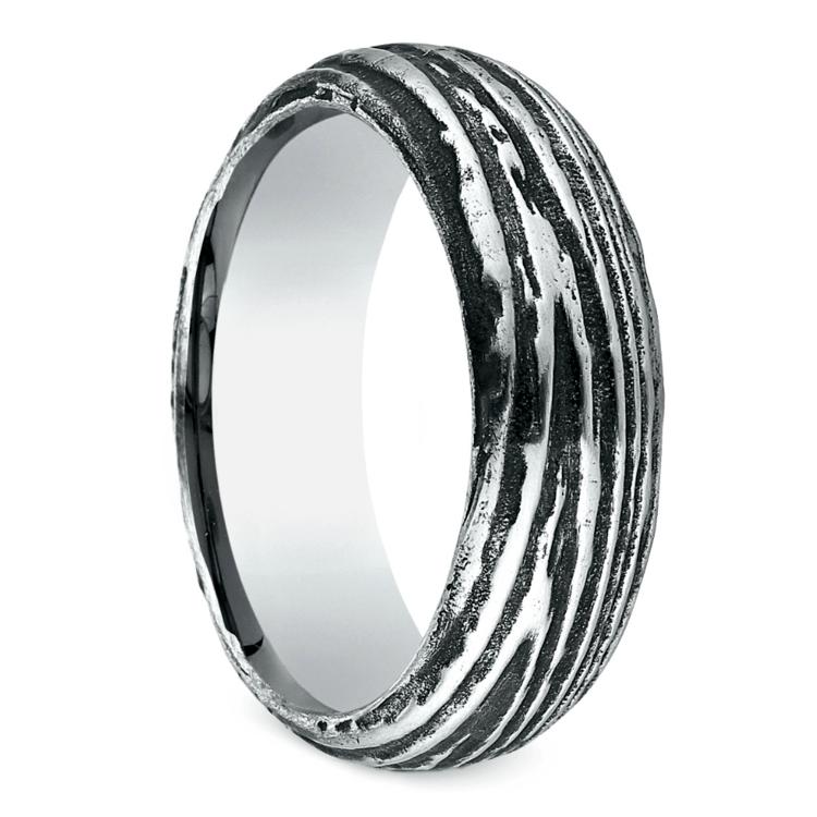 Tree Bark Patterned Men's Wedding Ring in Cobalt | 02