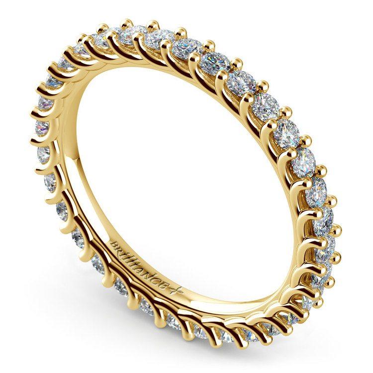 Trellis Diamond Eternity Ring in Yellow Gold | 01
