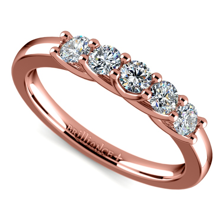 Trellis Five Diamond Wedding Ring in Rose Gold | 01