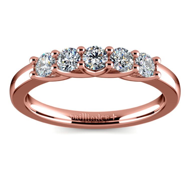 Trellis Five Diamond Wedding Ring in Rose Gold | 02