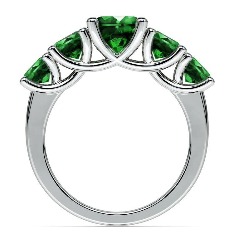 Trellis Five Emerald Gemstone Ring in Platinum | 03