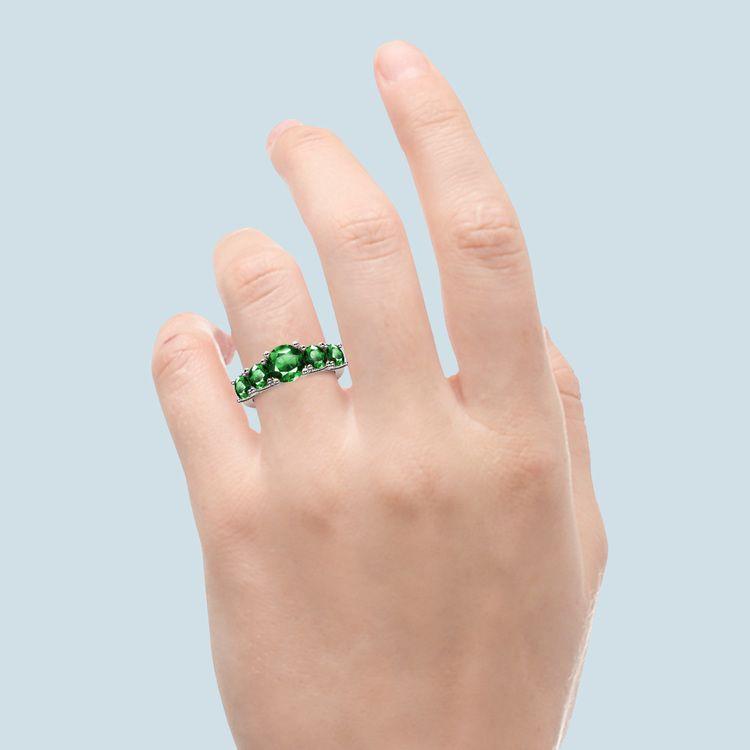 Trellis Five Emerald Gemstone Ring in Platinum   06