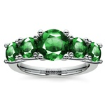 Trellis Five Emerald Gemstone Ring in White Gold | Thumbnail 02