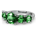 Trellis Five Emerald Gemstone Ring in White Gold | Thumbnail 05