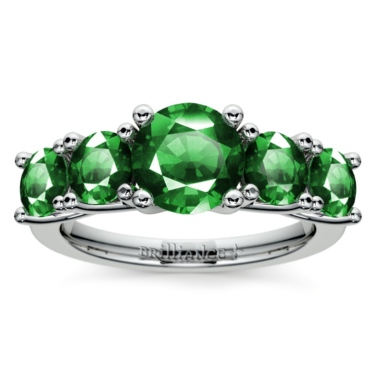 Trellis Five Emerald Gemstone Ring in White Gold | 02