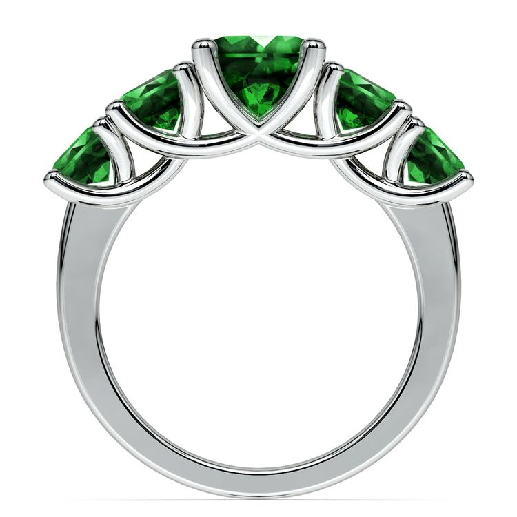 Trellis Five Emerald Gemstone Ring in White Gold | 03