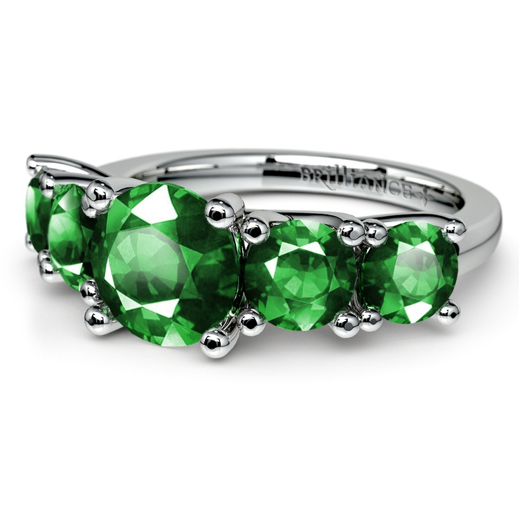 Trellis Five Emerald Gemstone Ring in White Gold | 05