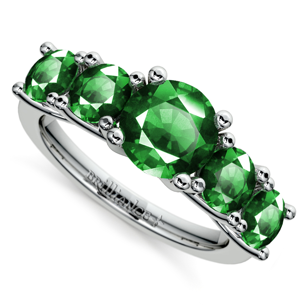 trellis five emerald gemstone ring in white gold